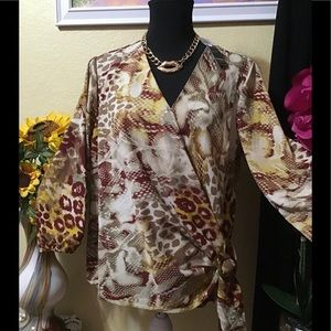 NWT Leopard:Snake Print Crossover Bodice Top Large